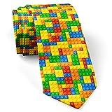 [ construction blocks ] skinny slim fashion necktie for men, novelty conversational neckwear ties -