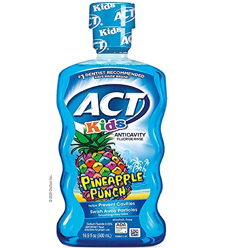 ACT Kids Anticavity Fluoride Rinse, Pineapple Punch Children's, Mouthwash, 16.9 Fl Oz (1 Pack Pineapple Punch New)