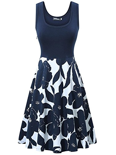 Measoul Damen Sommerkleid Ärmelloses Beiläufiges Strandkleid Tank Kleid Ausgestelltes Trägerkleid Knielang