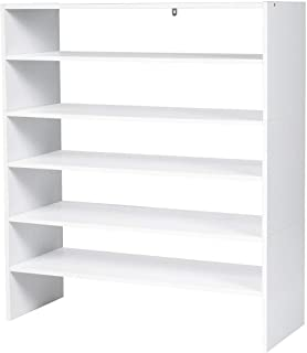 Giantex 3-in-1 Shoe Rack, 5-Tier Shoe Organizer, Wood Storage Shelf for Shoes, Multi-Shape Shoes Shelves Ideal for Entryway Hallway Bathroom Living Room (White)