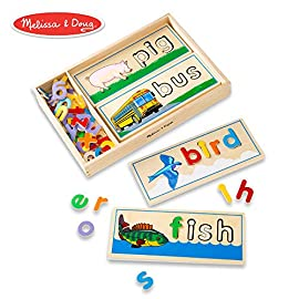 """Melissa & Doug See & Spell Learning Toy (50 + Wooden Pieces, Frustration-Free Packaging, Great Gift for Girls and Boys - Best for 4, 5 and 6 Year Olds) 1 See-and-spell developmental toy: the Melissa & Doug See & spell learning toy is a 50+ piece Colorful wooden puzzle with easy-to-handle letters that fit into 8 two-sided cutout boards to spell 3- and 4-letter words. Sturdy wooden case: for easy storage and portability, This learning toy comes with a sturdy wooden case, which is compact and easy to carry. Develops multiple skills: This set develops sight-reading vocabulary, spelling, and fine-motor skills. It's an easy and exciting toy that multiple children can play with at once, helping them develop important social skills. Comes in """"Frustration-Free packaging,"""" intended to be easier to open and reduce waste."""
