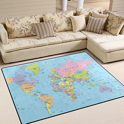 Use7 Alfombra retro con mapa del mundo para sala de estar, dormitorio, 160 cm x 122 cm