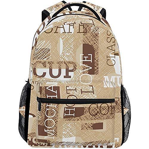 Daypacks Vintage Kaffeetasse Und Kreative Kritzeleien Stilvolle Männer Mode Universal Travel College Personalisierte Schultasche Großen Rucksack Frauen Buch
