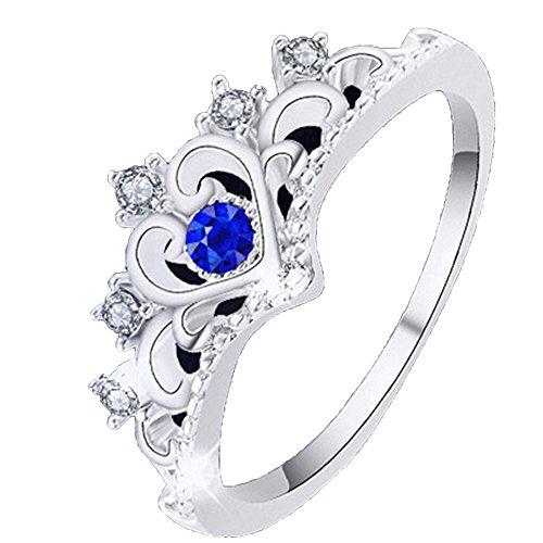 Webla - Anillo de dedo para mujer, diseño de corona de dama, anillo de princesa, ajustable, anillo abierto, anillo de articulación, regalo de joyería para mujeres y niñas
