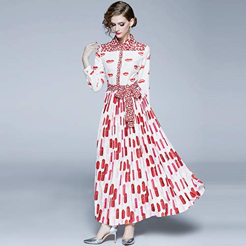 QYYdress Mode jurk Lapel Peach Hart Lippenstift Print Swing Geplooide Taille Jurk