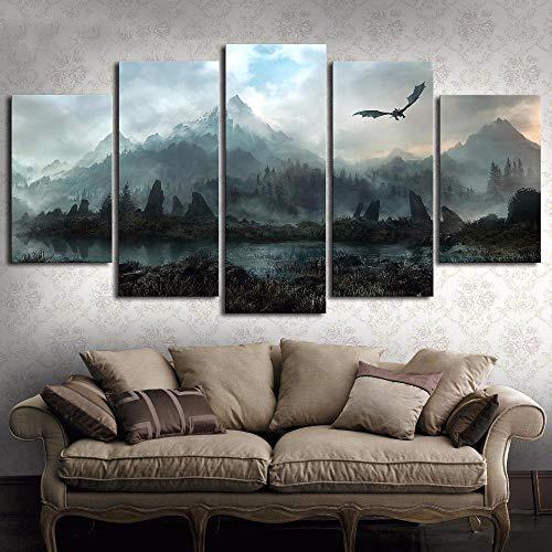 Decorsy Leinwanddrucke 5 Stück Hd Wandkunst Bild Game of Thrones Drachen Skyrim Ölgemälde Wandbild Auf Leinwand Für Wohnzimmer Dekor-Gerahmt