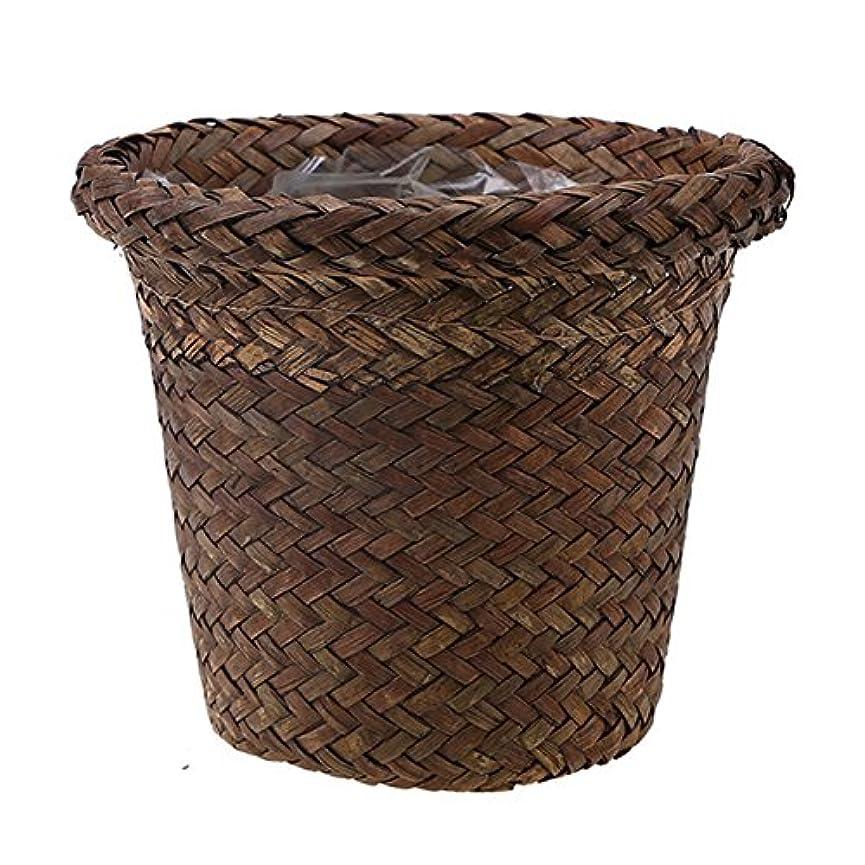議題アライアンストンRETYLY ラタンのシートの収納バスケット ガーデンフラワーポット 手作り 雑貨オーガナイザー プランター ボックス バスケット ナーサリーポット 茶色