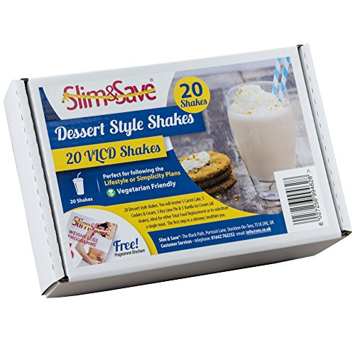 20 Slim & Save Dessert Style Shakes - High Protein Low Carb Meal Replacement VLCD Shakes