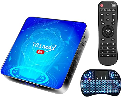 Android 10.0 TV Box, 2021 El más nuevo T01 MAX Android TV Box Allwinner H616 Quad Core ARM Cortex A53 CPU, G31 MP2 GPU, 2.4G / 5GHz WiFi dual con BT5.0 USB 2.0 3D 6K Full HD / H.2654 + 64G(Color:4+32