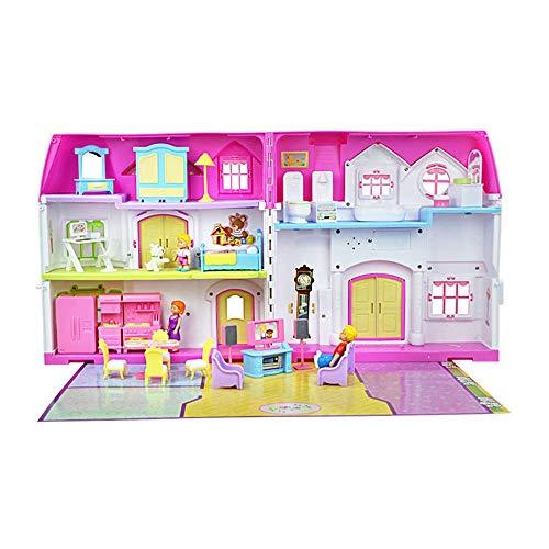 Casa de Muñecas DIY Muebles De Casa De Muñecas, Casa De Muñecas Los Niños Jugar A Las Casitas Edificio Regalo para Tus Hijos (Color : Pink, Size : 33x35x19cm)