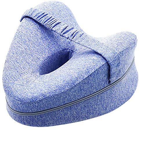 JEMESI Kniekissen für Seitenschläfer, Beinkissen Memory Foam Orthopädisches Kniekissen ergonomisches Seitenschläferkissen Leg Pillow für Druckentlastung Hüfte Bein Knie(Blau)