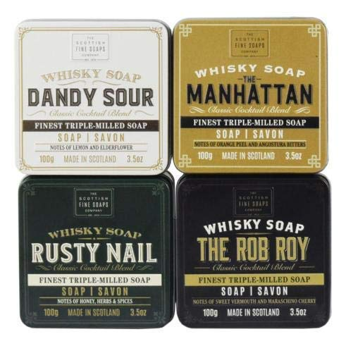 SCOTTISH FINE SOAPS COMPLET WHISKY Cocktail savons en boîte collection 4 x 100g savons