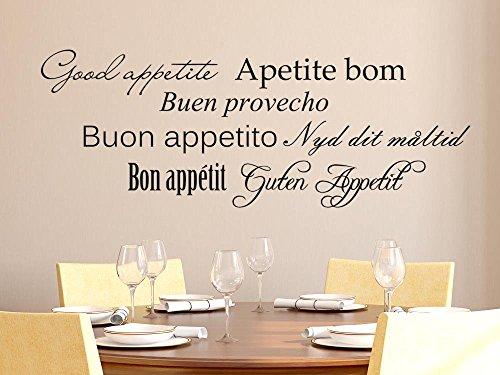 GRAZDesign Wandsticker Küche Guten Appetit, Wanddeko Küche Esszimmer viele Sprache, Wandtattoo Küche Sprüche / 109x40cm / 082 beige