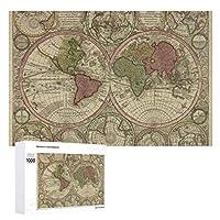 INOV 世界(1730年) 2 ヴィンテージ 地図 ジグソーパズル 木製パズル 1000ピース インテリア 集中力 75cm*50cm 楽しい ギフト プレゼント