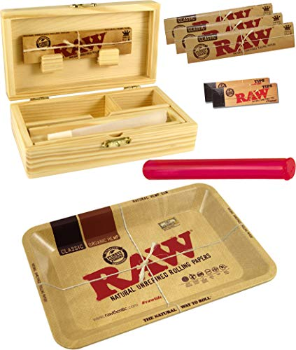 yaoviz® Set RAW Rolling Tray Mini Metall - Holzbox Medium Holz 155 x 85 x 48mm + 3X 32er RAW KS Slim Papers + 2X 50er RAW Filtertips + Buddies Tube 120mm bunt