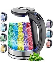 Glazen waterkoker, 1,8 liter, 2200 watt, roestvrij staal met temperatuurkeuze, theekoker, 100% BPA-vrij, warmhoudfunctie, led-verlichting in kleurverandering, temperatuurinstelling (40 °C tot 100 °C)