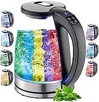 Glazen waterkoker, 1,8 liter, 2200 watt, roestvrij staal met temperatuurkeuze, theekoker, 100% BPA-vrij,...