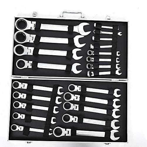 OUKANING Juego de Llaves de Trinquete Articuladas de 22 piezas Juego de Llaves de Anillo Juego de Herramientas de 6-32 mm