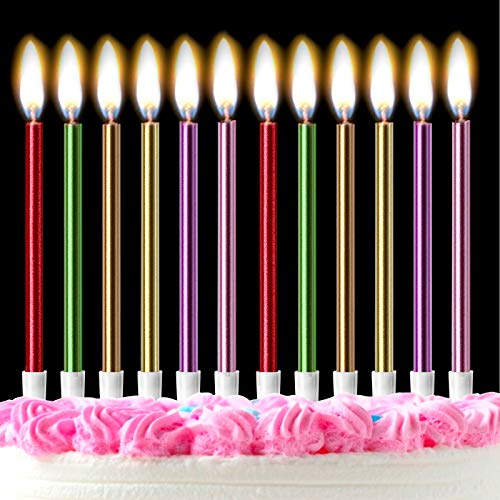Mostfun 12PCS Birthday Candles with Real Flames Party Supplies for Cakes Sparkler Candles for Birthday Dinner Party (Multicolor)