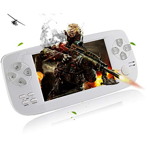 TIANYY Retro Game Console, 4.3' Big Screen Portable Video Game 4GB Pap Classic Handheld Game Console 64 Bit Portable Game Console Birthday Gift for Children (White)