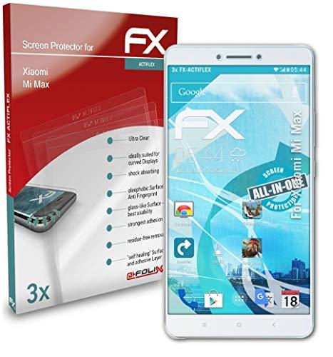 atFolix Schutzfolie kompatibel mit Xiaomi Mi Max Folie, ultraklare & Flexible FX Bildschirmschutzfolie (3X)