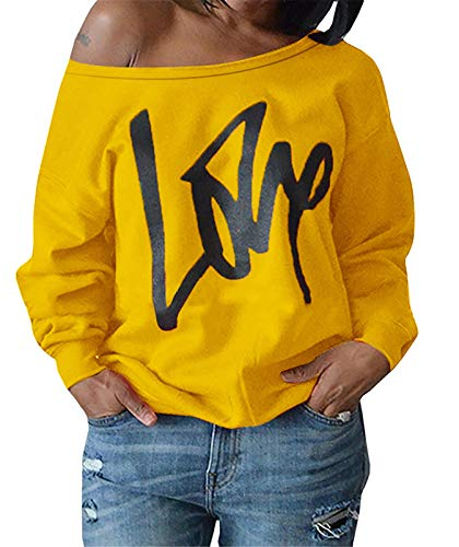 AM CLOTHES Womens Plus Size Off The Shoulder Tops Sweatshirt Slouchy Causal Blouse Shirts Yellow 5XL