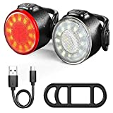 WXX 1 Set Bicicleta Bicicleta Frente Luz Tras Light USB Recargable Seguridad Advertencia Luz Impermeable LED Brillante Bicicleta Trasero Luz de Cola (Color : Red White)