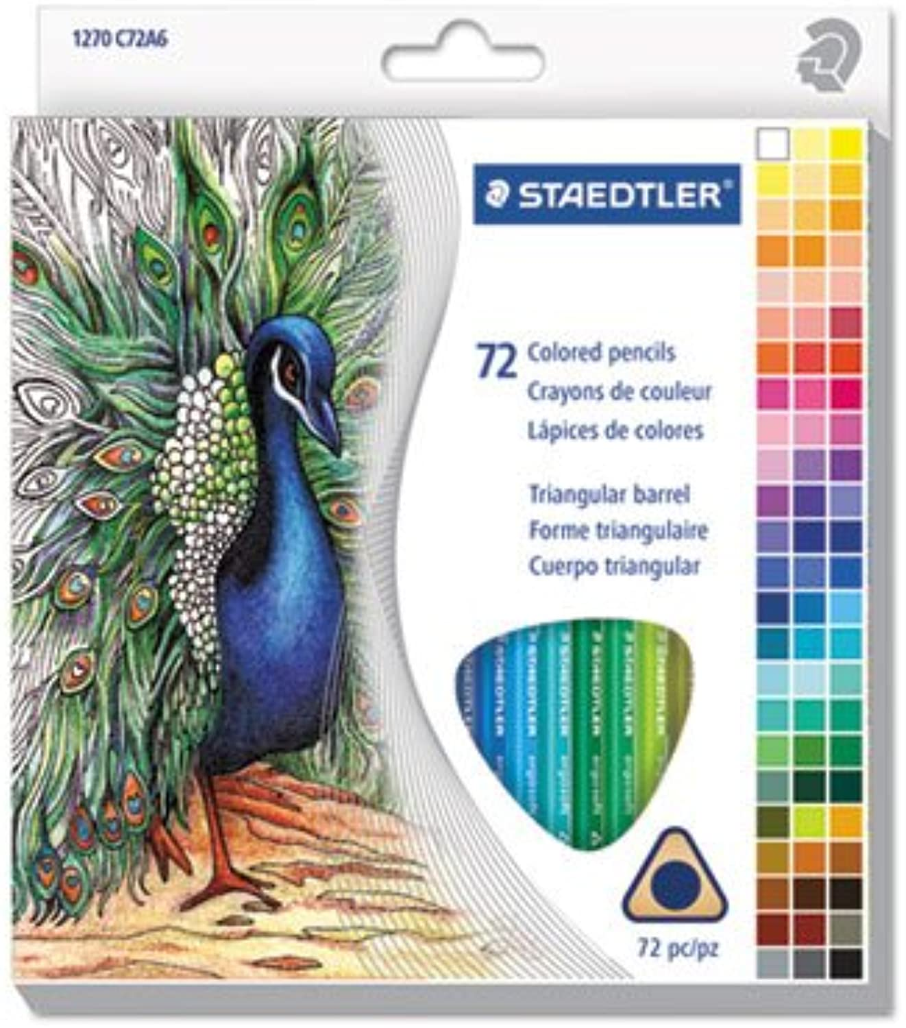 Staedtler Triangular colord Pencil Set, H  3, 2.9Mm, 72 Assorted colors