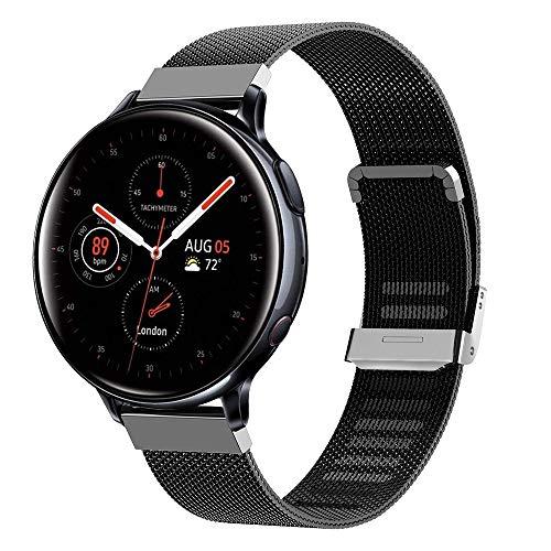 Keweni para Samsung Galaxy Active Strap, Pulsera de Repuesto con Correa de Metal para Samsung Galaxy Watch Active/Active 2 / Galaxy Watch 42 mm/Gear Sport/Gear S2 Classic Smartwatch (Negro)