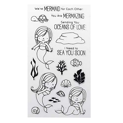 Koehope PVC Transparant stempel zegel Cartoon Kleine zeemeerminvrouwen patroon DIY scrapbook fotoalbum kaart dagboek decor Engelse letters