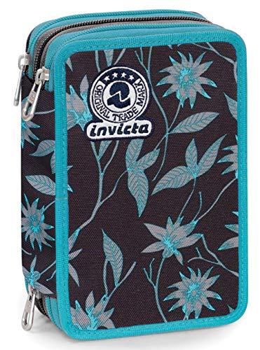 Astuccio 3 Zip Invicta Primerose, Nero, Con materiale scolastico: 18 pennarelli Giotto Turbo Color, 18 matite Giotto Laccato…