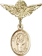 14kt Gold Filled Baby Badge with St. Stanislaus Charm and Angel w/Wings Badge Pin St. Stanislaus is the Patron Saint of Broken Bones 1 X 3/4