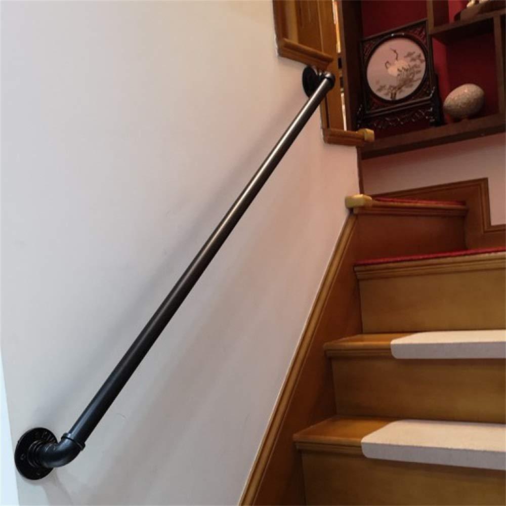 30-600cm Pasamanos de Escalera de Tubo de Hierro Forjado Industrial Negro, pasamanos Antideslizantes de Seguridad para Interiores y Exteriores, pasamanos para inodoros de baño para Ancianos y niños: Amazon.es: Hogar