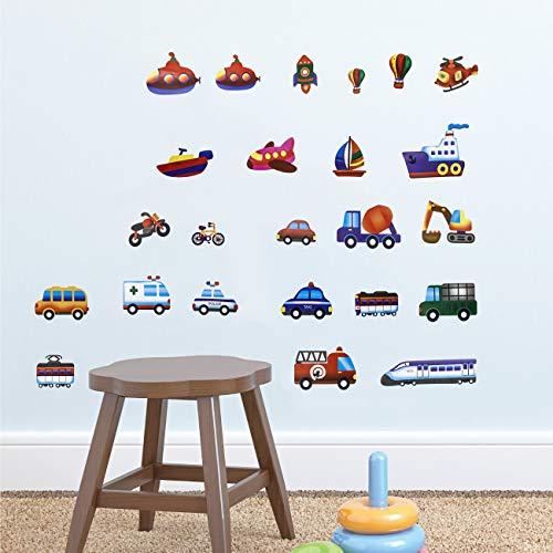 Joeyer Transportes Pegatinas Decorativas, Coche de Dibujos Animados Decorativas Adhesiva Pared Dormitorio Salón Guardería Infantiles Niños Bebés