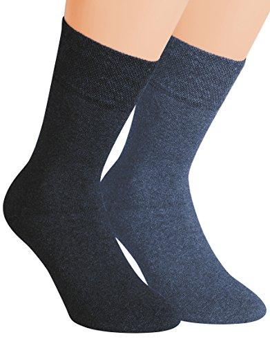Vitasox Herren Wellness Socken Baumwolle Frotteesohle Baumwollsocken Arbeitssocken ohne Gummi 4er & 6er Pack, 6xjeans-töne, 43/46