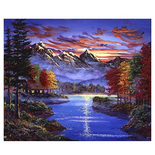 ZWBBO Canvas schilderij Decoratieve schilderijen Muurfoto's Voor Woonkamer Rustige Lake Foto Kleurplaten Door cijfers Diy Schilderen Door Nummers