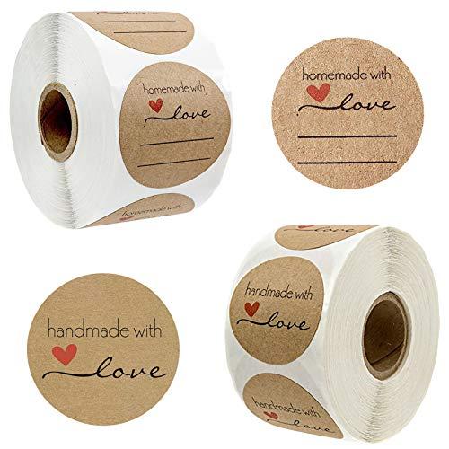 1000pcs 2.5cm Papel Kraft Etiqueta Adhesiva Pegatina Handmade with Love para Hornear en Casa, Regalo Hecho a Mano, Boda, Acción de Graciasboda, Acción de Gracias