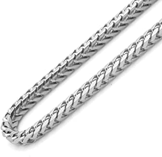 Silver Chains 925 Rhodium Plated Sterling, 2.5mm Solid Franco Square Box Link 26 Inch Pure Silver Necklace for Men Real Silver Necklace for Women 16-30 inches- Made in Italy