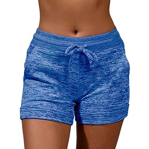 MUYOGRT Pantalones cortos de deporte para mujer, para verano, elásticos, con rayas, ligeros, ventilados, para correr y hacer deporte azul M