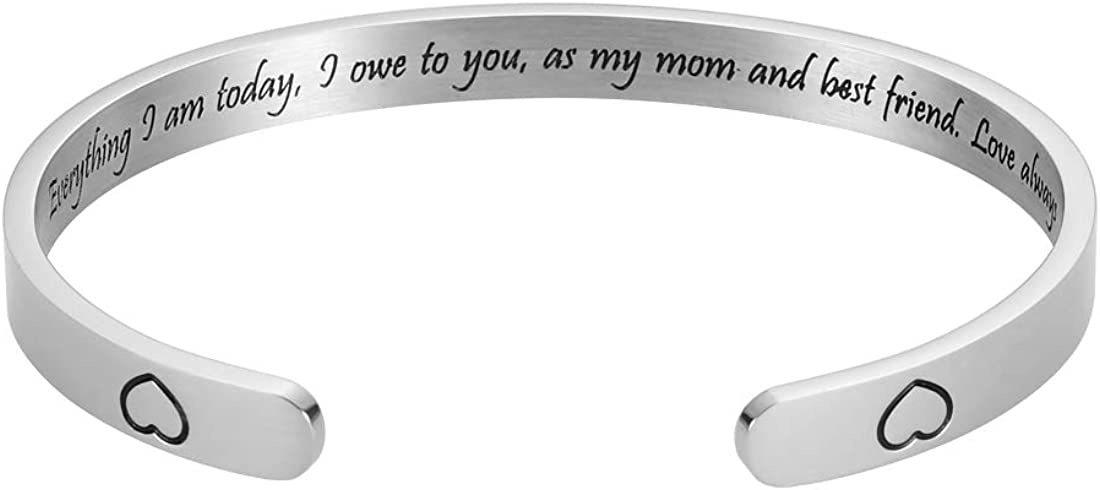 Mothers Day Gifts Family Tree Bracelets for Women Inspirational Gifts for Mom Mother Stepmom from Daughter Son Motivational Birthday Cuff Bangle Personalized Mantra Jewelry Expandable