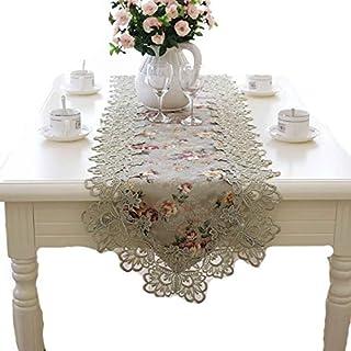 BAJIE Table Coureur brodé Floral Tissu de Dentelle ami Cadeau Unique Conception Fait Main Crochet Coureur Floral Ovale Nap...