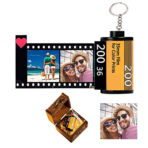 Shuifeng Personalised Film Roll Keychain, Keyring with Multi Photo And Text Retro Camera Film Roll Custom Keychain Novelty Personalised Gift for Birthday Christmas