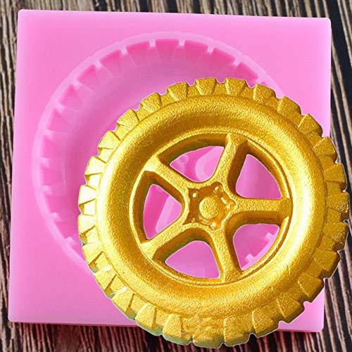 JLZK Molde de Silicona para neumáticos 3D, moldes para Fondant, Herramientas de decoración de Tartas de cumpleaños, Molde de Chocolate y Arcilla para Dulces, horneado de Cupcakes