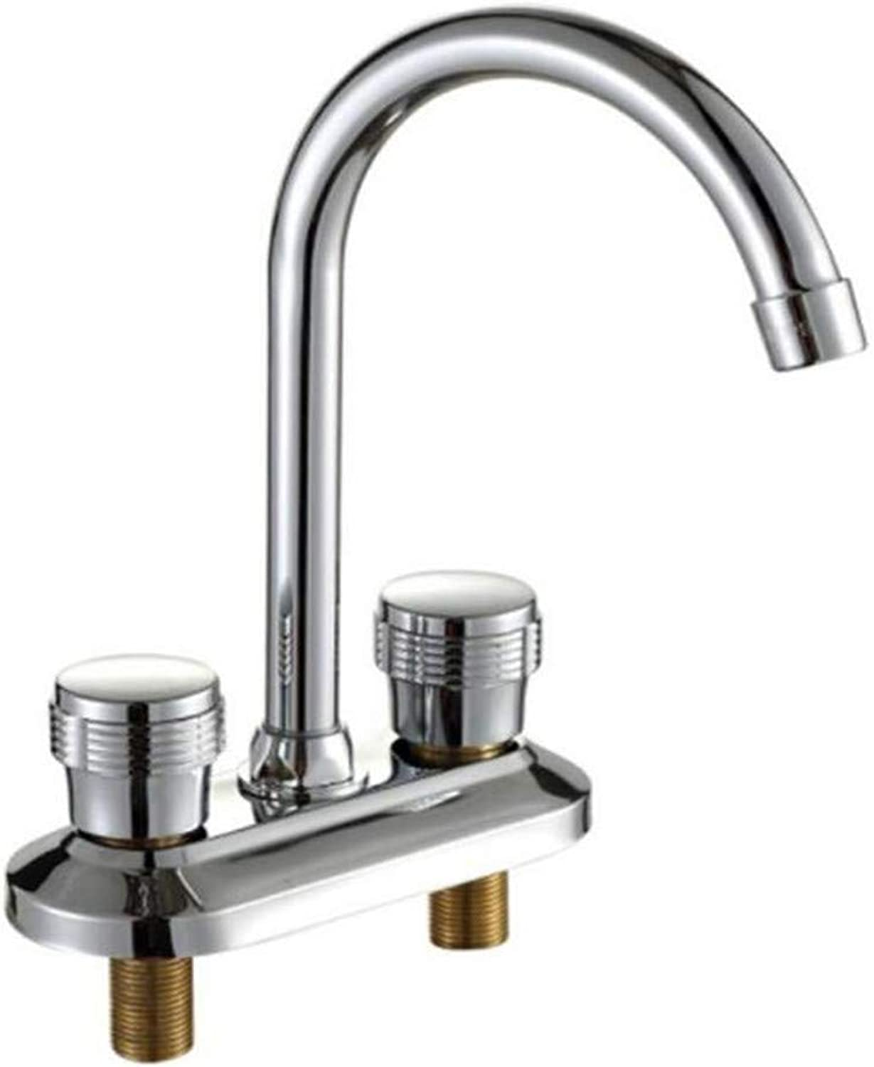 Vintage Chrome Brass Kitchen Bathroom Taps Double-Hole Washbasin Cold and Hot Water Faucet Bathroom Counter Basin Faucet