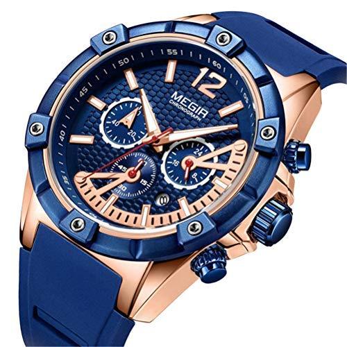 Reloj para Hombre Deportivo Militar Cuarzo analógico para Hombre Azul Moda Cronógrafo Impermeable Oro Fecha Reloj de Caballero