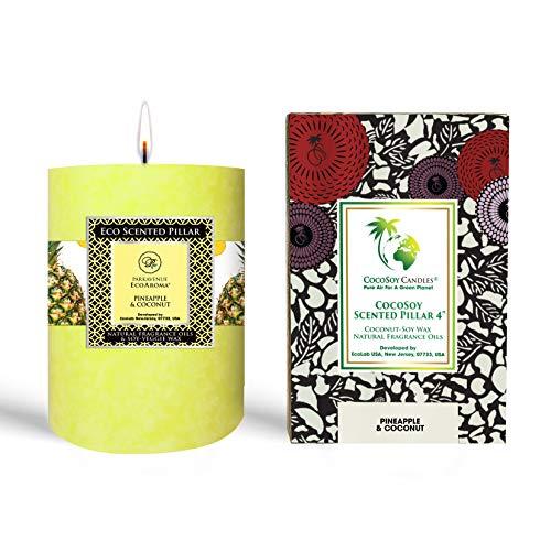 EcoAroma - Vela aromática de piña y coco, orgánica, aroma de coco-soja, 3 velas de larga duración para decoración del hogar, mezcla de cera de soja de coco 100% natural