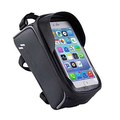 Hosaud - Bolsa para cuadro de bicicleta resistente al agua, soporte para teléfono móvil con pantalla táctil de TPU y agujero para auriculares, para smartphone de menos de 6 pulgadas