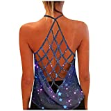 YUNIAO Summer Women's Sleeveless Yoga Workout Tank Tops Backless Printed Tunic Tops Loose Fit Running Exercise T-Shirt