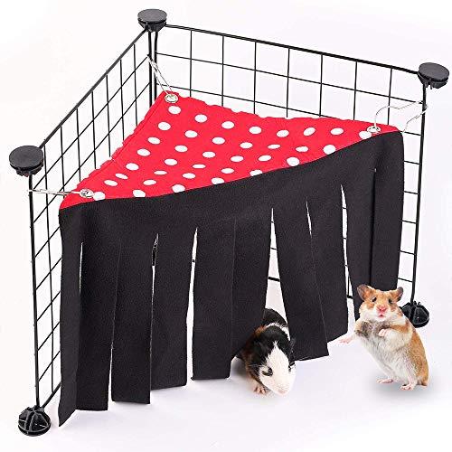 Andiker Escondite para hámsters y animales pequeños, cortina de forro polar y accesorios para jaulas para animales domésticos, ropa de cama para cobayas, chinchillas, conejos enanos (rojo)