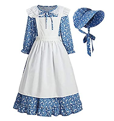 ReliBeauty Pioneer Girl Dress Colonial Prairie Costume Blue, 8(140)